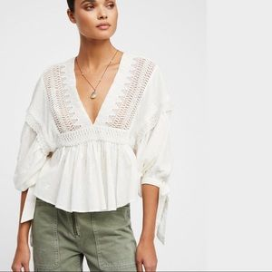 FREE PEOPLE Ivory Drive You Mad Blouse NWT